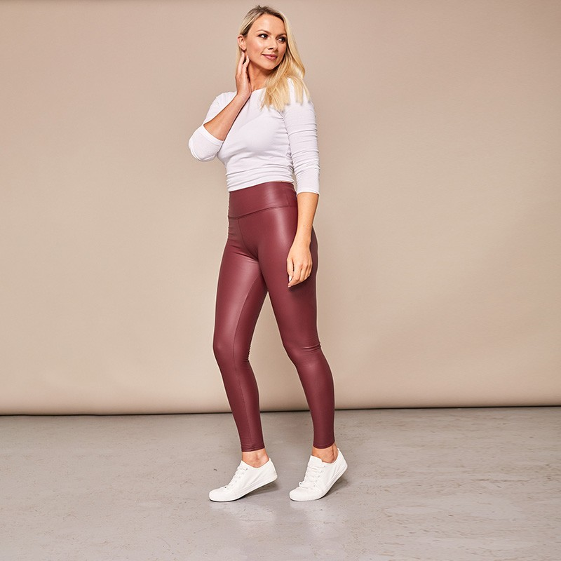 Wet Look Leggings Wine