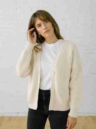 Knit Cardigan Sweater - Shelter Cardigan Birch