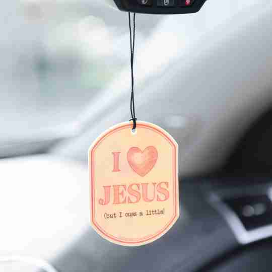 I Love Jesus But I Cuss a Little Car Air Freshener | Twisted Wares®