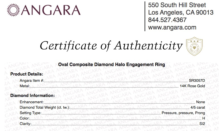 Angara Certificate of Authenticity