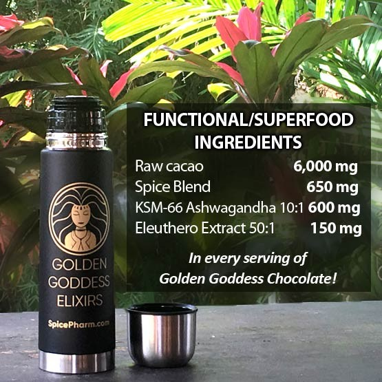 7,400 mg of functional/superfood ingredients in every serving of Golden Goddess Chocolate Elixir