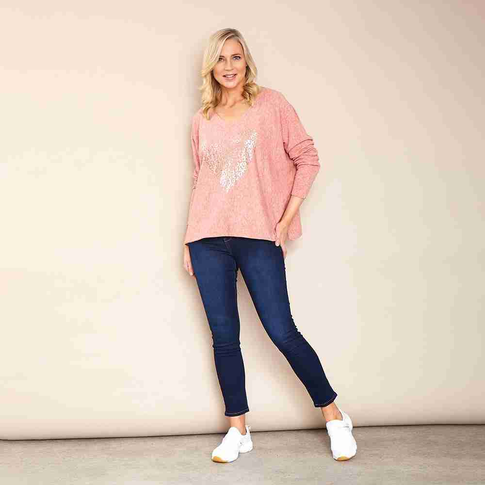 Athena V Neck Jumper(Pink)