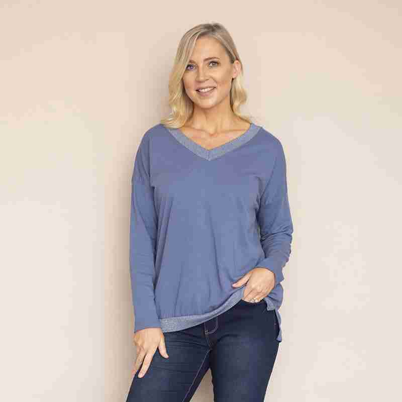 Sophie V Neck Top (Jean Blue)