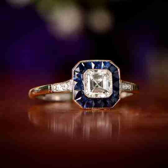 An art deco ring with an Asscher cut diamond