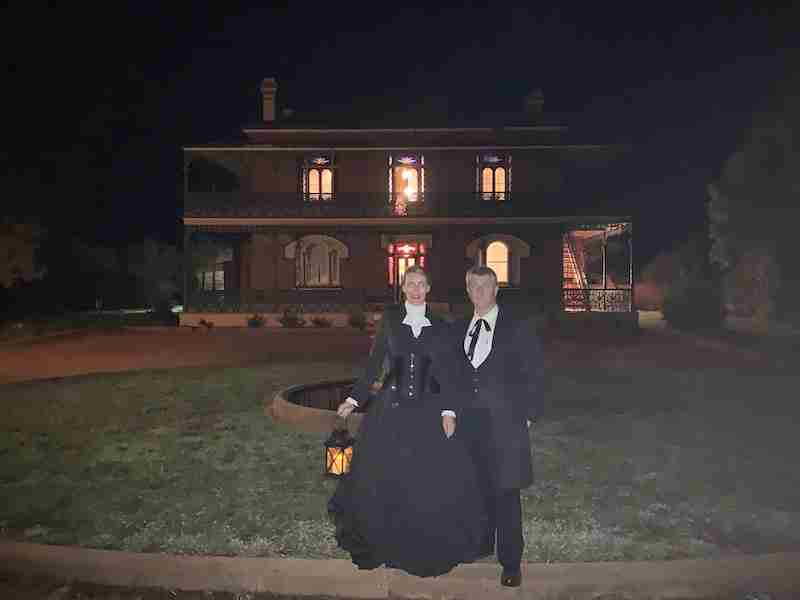 ghostly looking ghost tour guides in full victorian attire about to take guests on a ghost tour of Australia's most haunted homestead, Monte Cristo, Junee
