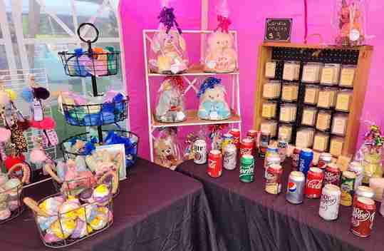 An assortment of gifts in a gift shop