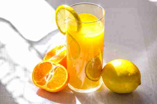 Glass of orange juice.