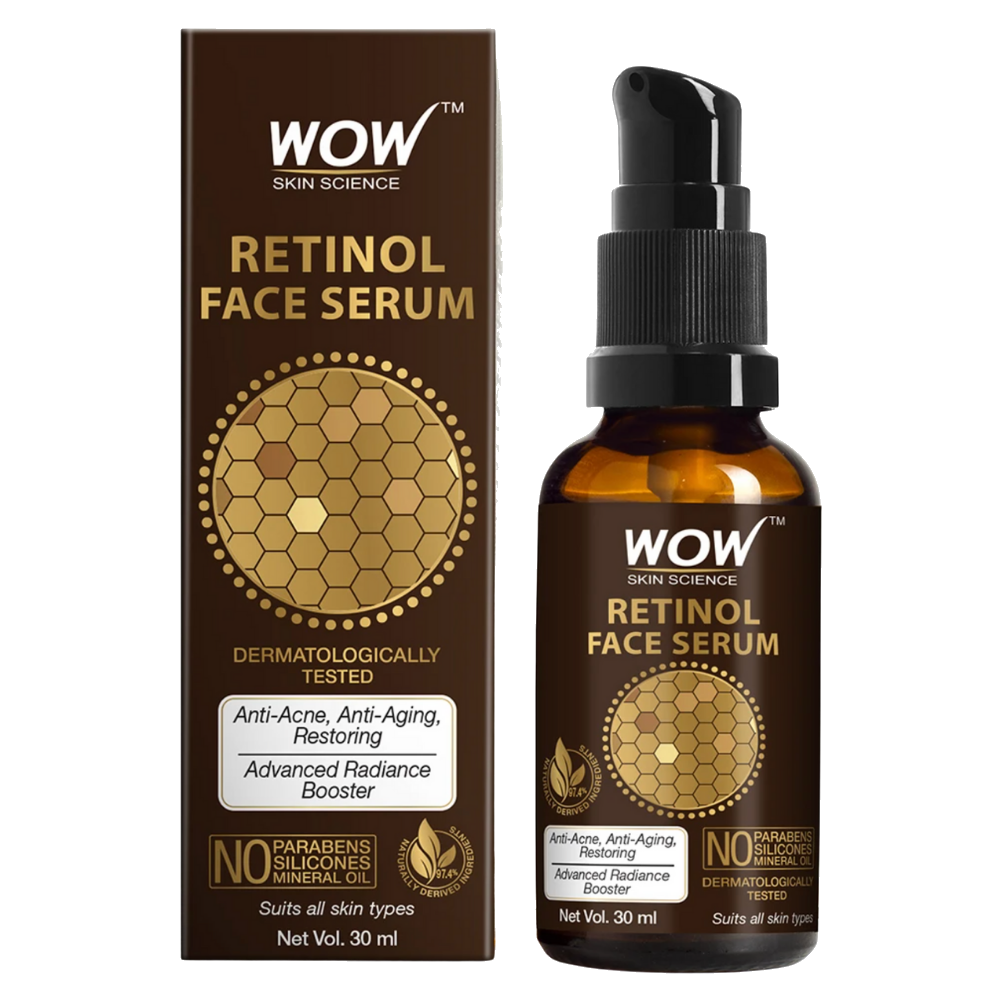 WOW Skin Science Retinol Face Serum - OIL FREE - Skin Plumping, Boost Collagen, Anti Acne, Anti Aging, Restoration - No Parabens, Silicones & Mineral Oil - 30 ml