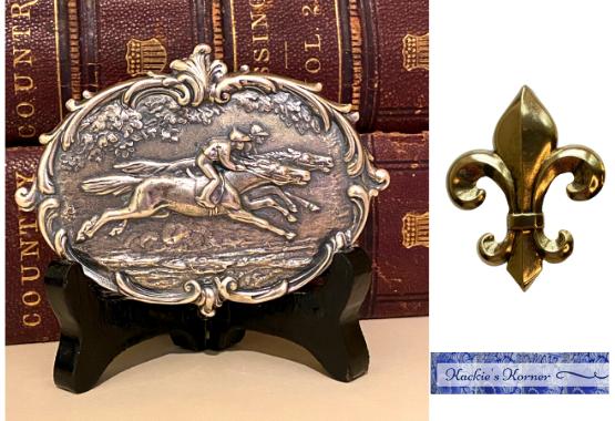 Vintage Race horse and fleur de lis medallion