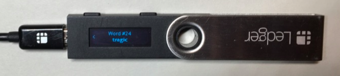 The Ledger Nano S screen showing Word #24