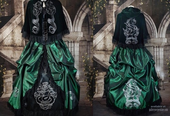 front & back full length views of the Inspired by Slytherin Corset Gown in dark green with black corset