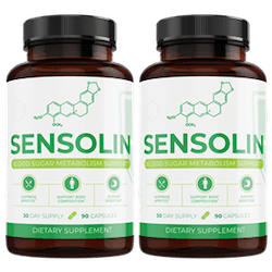 two bottles of the Sensolin supplement