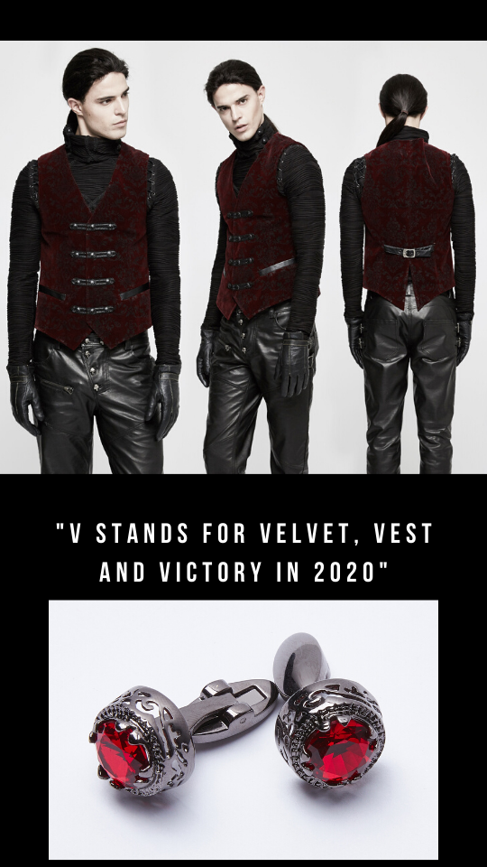 image of gothic male model in the Blood Velvet vest, made from a blood burgundy red velvet embossed with a black baroque style pattern