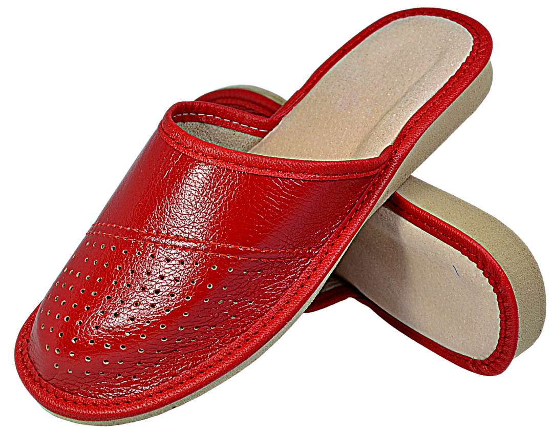 Womens Ladies Slippers Sandals Home Shoes Natural Leather Kapcie Red