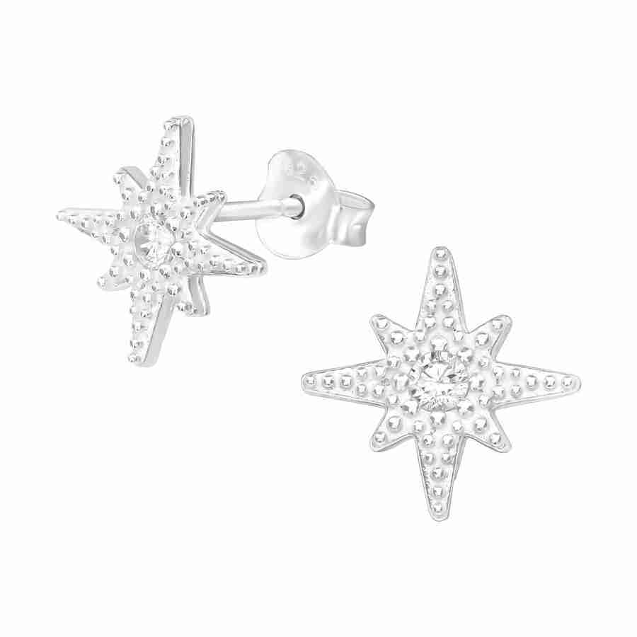 Sterling Silver Star Burst Earring
