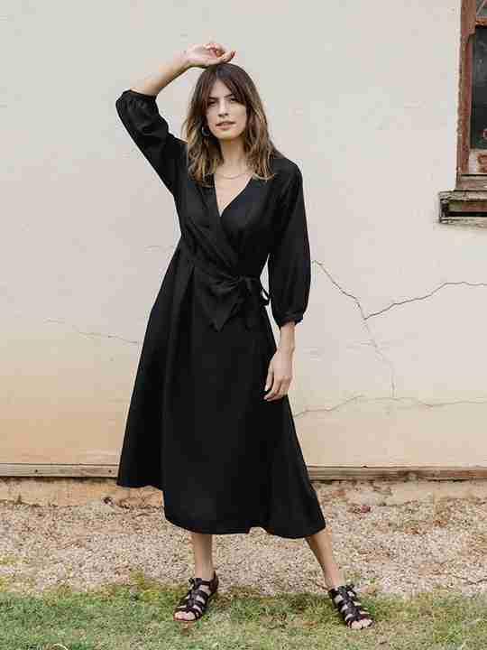 Lily Midi Wrap Dress Black
