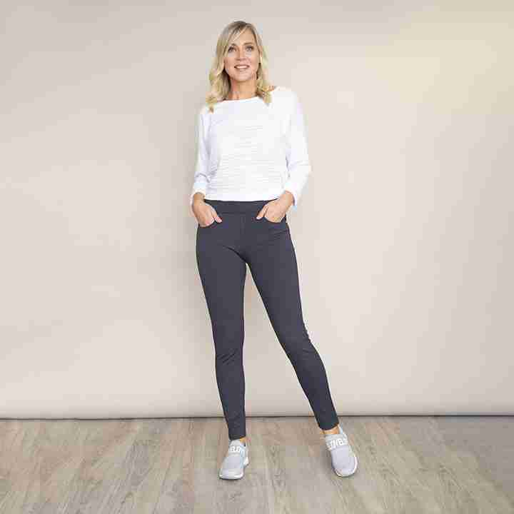 Stretch Waist Stud Pocket Trouser(Grey)