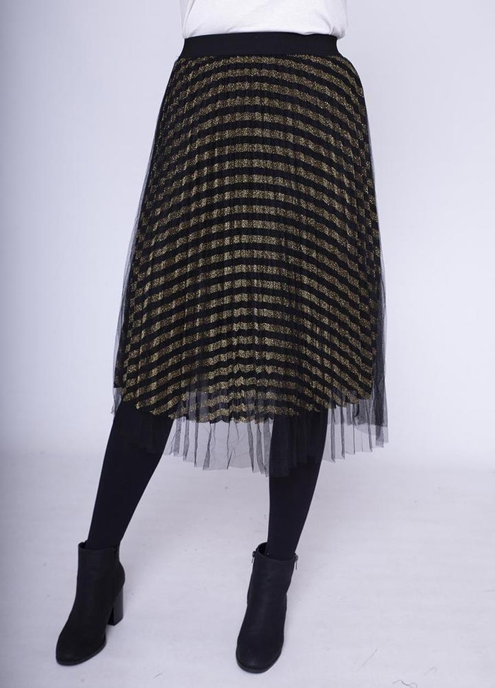 Overlay Net Skirt in Gold
