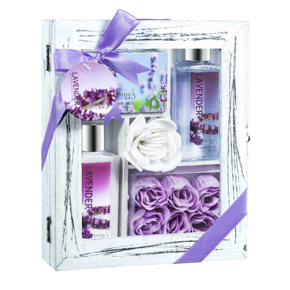 Lavender Spa Relaxation Kit With Body Lotion, Shower Gel, Bath Salts, & Rose Soaps.