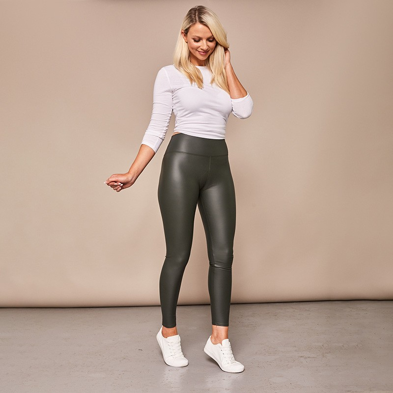 Wet Look Leggings Khaki
