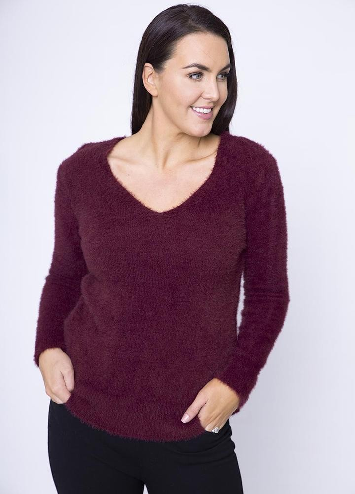 V Neck Fluffy Jumper in Wine