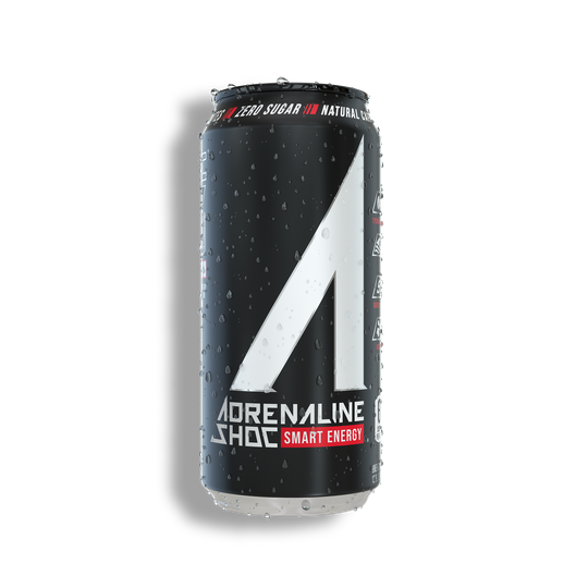 Adrenaline Shoc aka A_SHOC | features our natural energy blend with 300 mg plant-based caffeine to increase endurance, ocean mineral electrolytes to improve hydration, 9 essential amino acids to boost performance, and BCAA's for muscle recovery.
