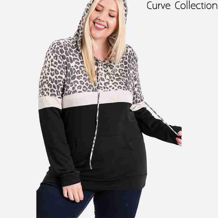 Tara Curve Leopard Hoody Black
