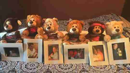 Our bears lined up with pictures of grandpa and his grandkids.