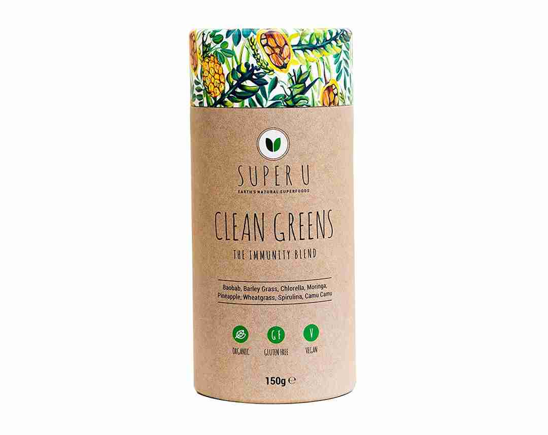 Super U Clean Greens - The Immunity blend, contains camu camu, baobab and pineapple