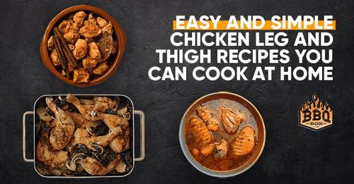 flatlay of three chicken dishes, BBQ Box logo, text reads