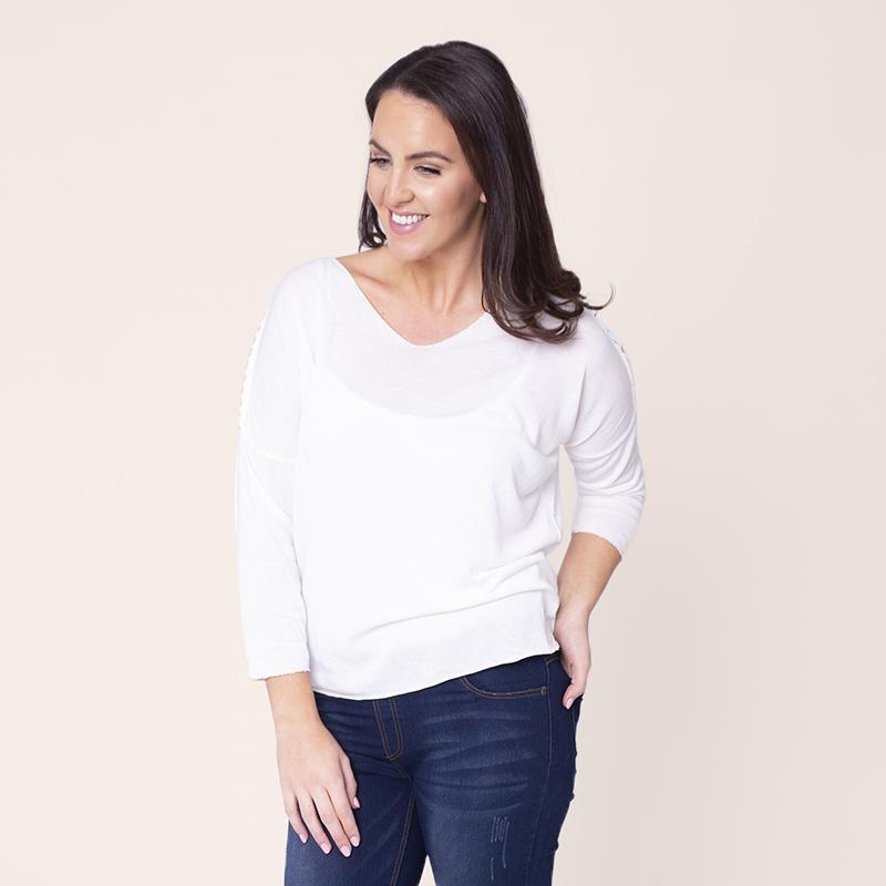 Vanessa V Neck Knit White