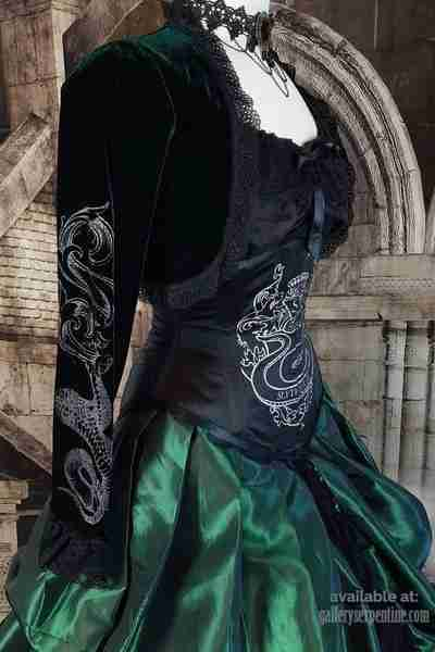 side view of the dark green velvet Slytherin inspired bolero with unique baroque screen prints of snakes and the letter S