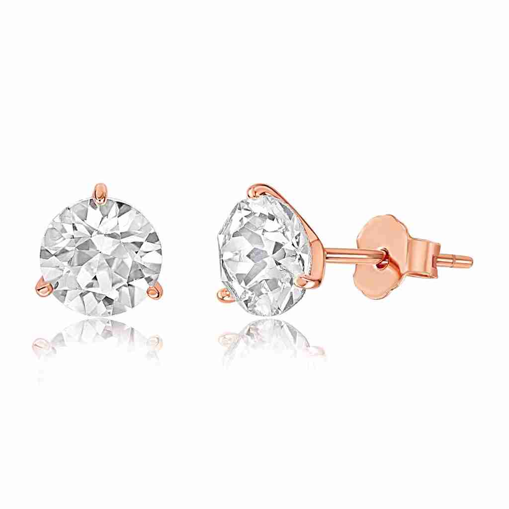 A pair of Swarovski crystal stud earrings made of rose gold vermeil