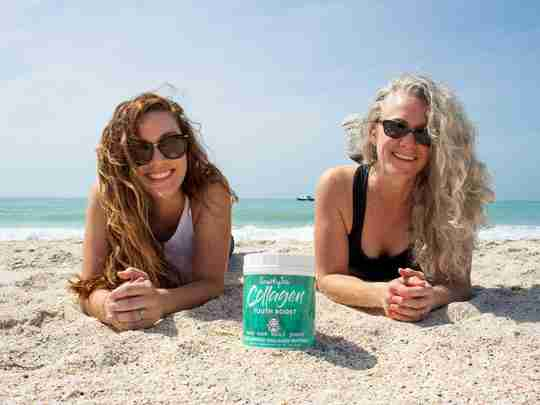 two women on beach with snarky tea collagen