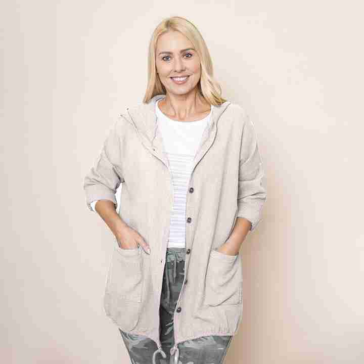 Crinkle Cotton Hoody Jacket(Beige)