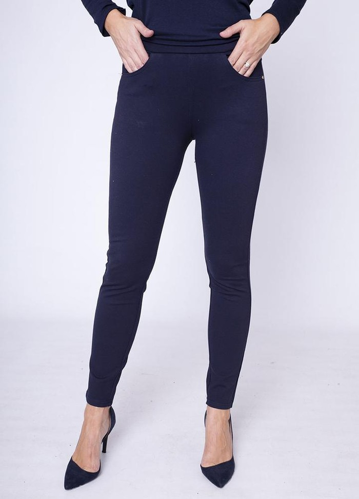 Stretch Waist Stud Pocket Trouser in Navy