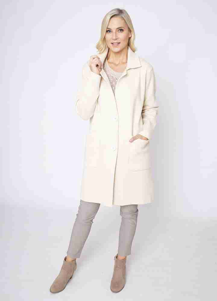 Revere Collar Coat Cardi in Cream