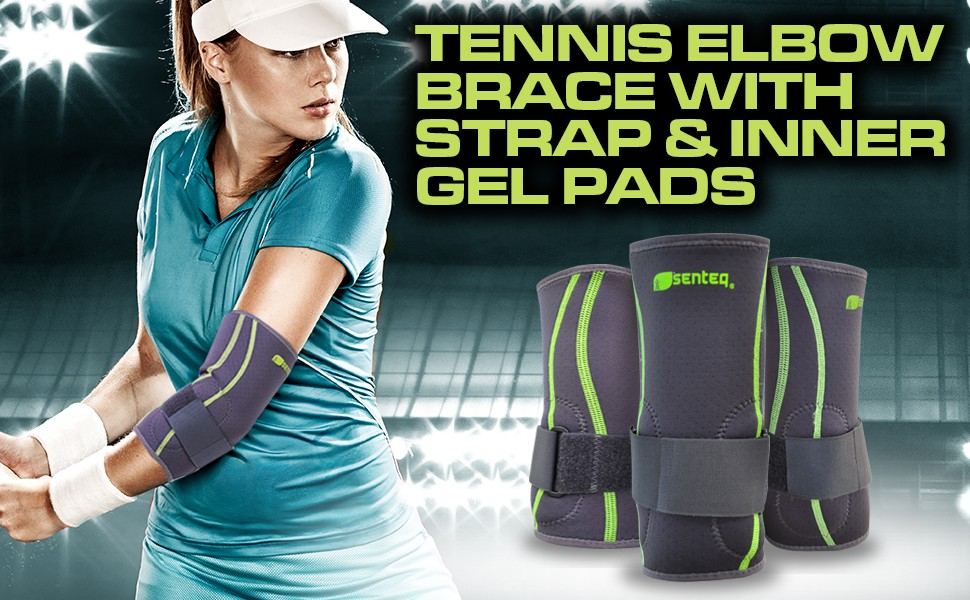 Tennis Golf Elbow Brace Sleeve with Strap & Inner GEL Pads - Best for joint pain relief, prevent injuries, improve blood circulation. Medical Grade