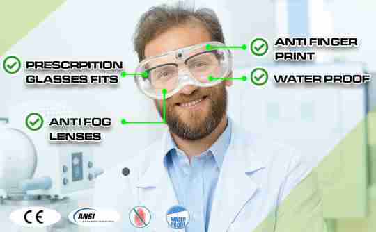 Safety Goggles - Lab Glasses - Medical Face Protection - Clear Lens Anti-Splash - Dust Proof Wearable Eyeglasses - 2 Pairs