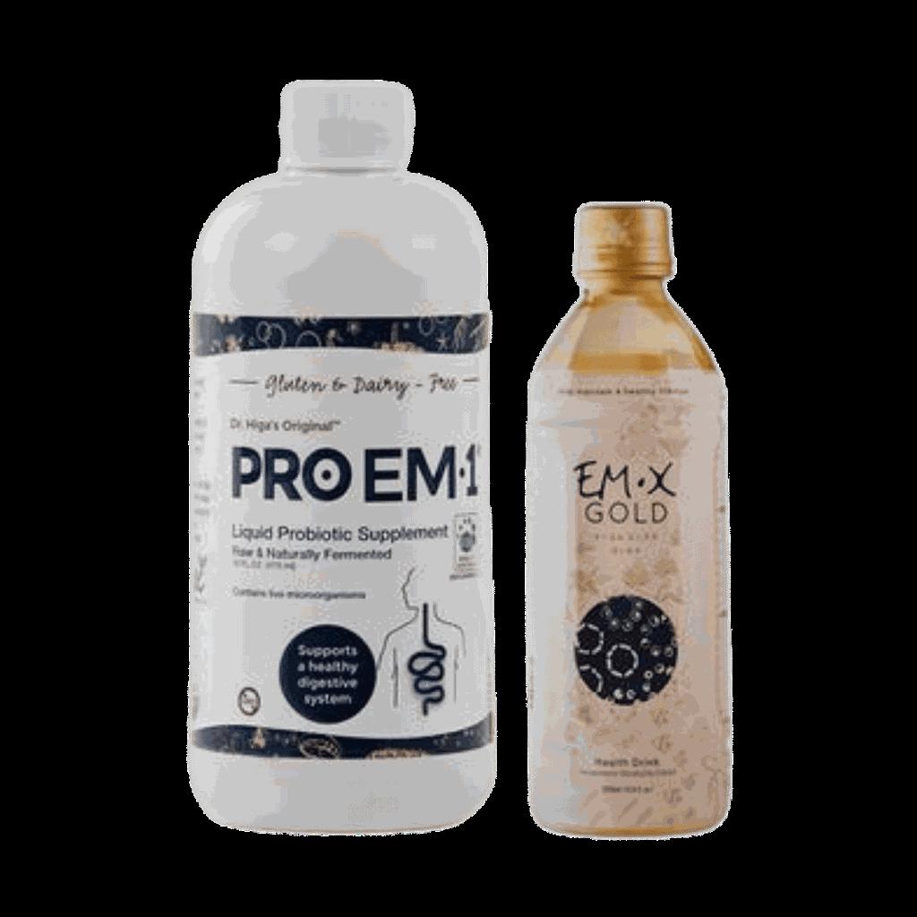 Super Gut Set, includes one 500ml bottle EM-X Gold® Prebiotic Drink and one 16 fluid oz. bottle of PRO EM-1® Liquid Probiotic Supplement.