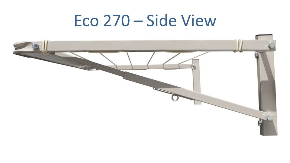 eco 270 2.5m wide clothesline side view