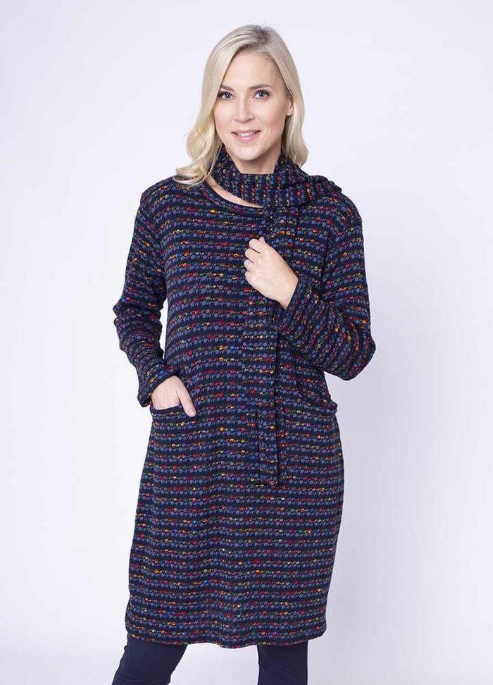 Fine Knit Pocket Dress & Scarf in Navy