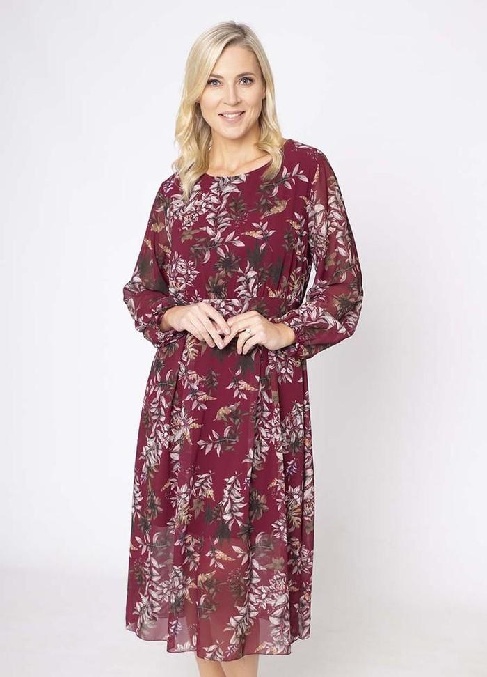 Floral Print Pleat Dress in Wine