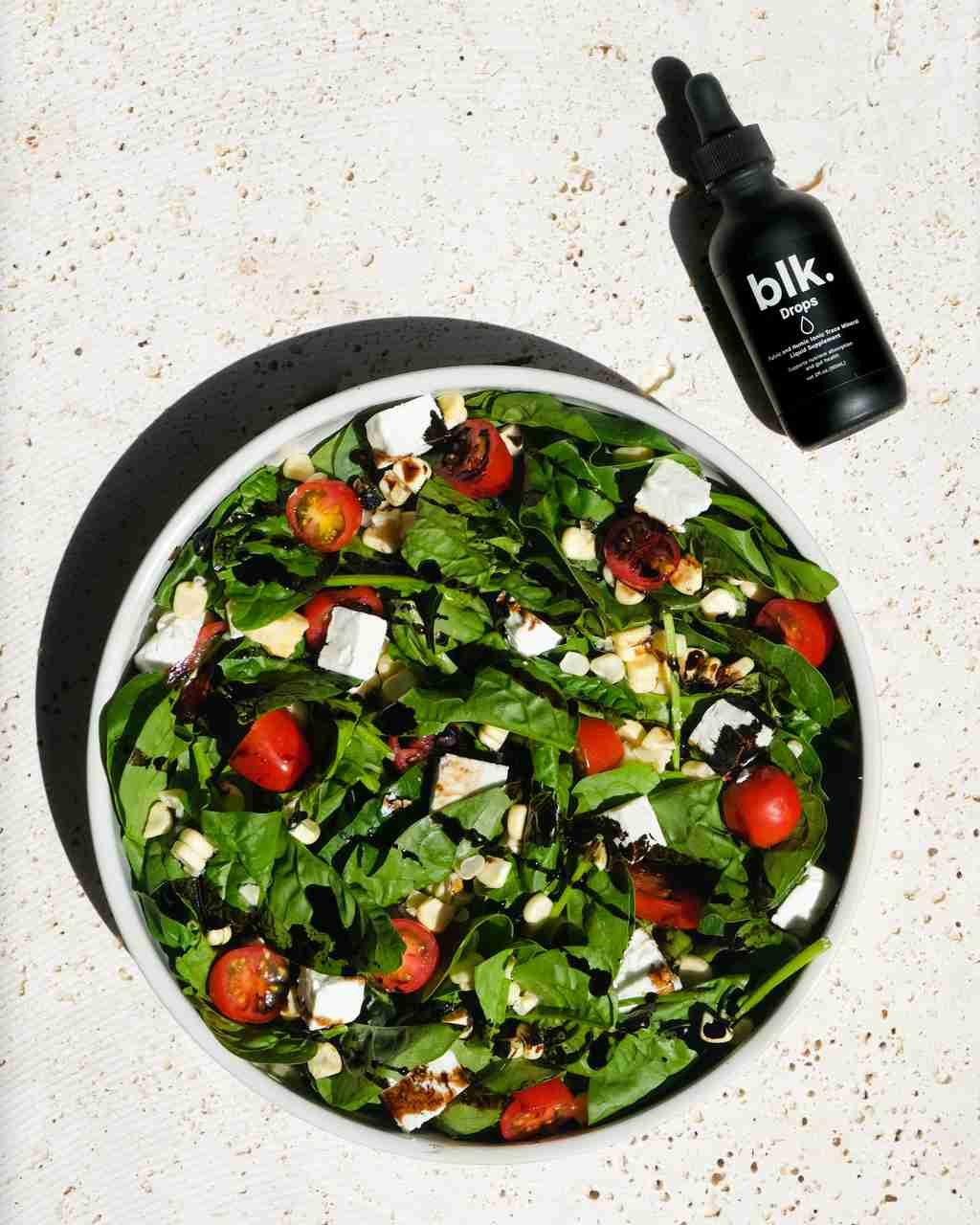 Spinach Summer Salad Recipe made with blk. Drops