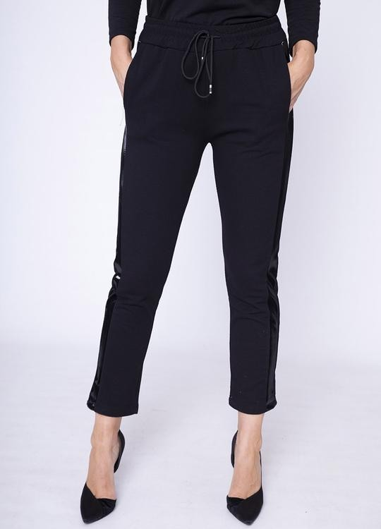 Drawstring Leather Side Trouser in Black