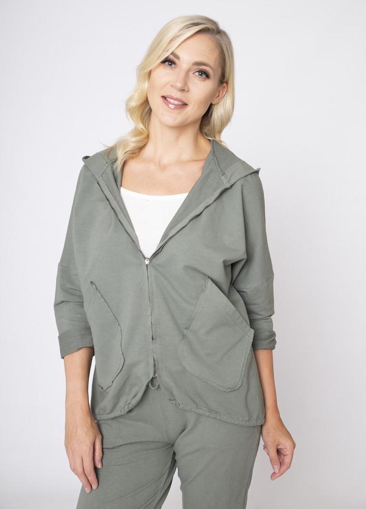 Hoody Side Pockets Zip Jacket Khaki