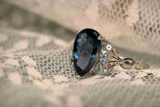 Sapphire ring on lace