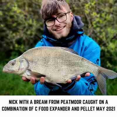Nick with a Bream caught from Peatmoor on C Food Expander Mix and Boosted Pellet