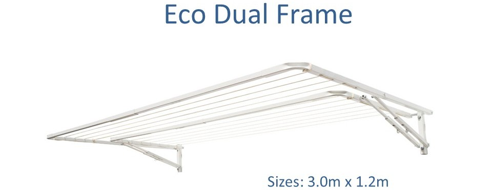Eco dual frame 2.6m wide variable capacity clothesline