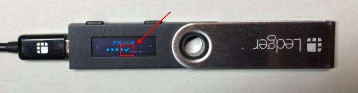 confirming your Ledger Nano S PIN code